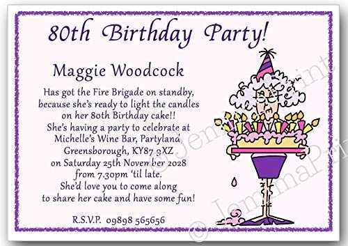 30th 40th 50th 60th 65th 70th 80th 90th 100th female funny with envelopes J300 21st 10 Personalised Birthday Party Invitations 18th