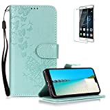 Funyye Folio Wallet Case for Huawei P20 Pro,Elegant Green Dandelion Embossed Pattern Strap Magnetic Flip Soft Silicone PU Leather Case for Huawei P20 Pro,Stand Function with Credit Card Holder Slots case + 1 x Free Screen Protector