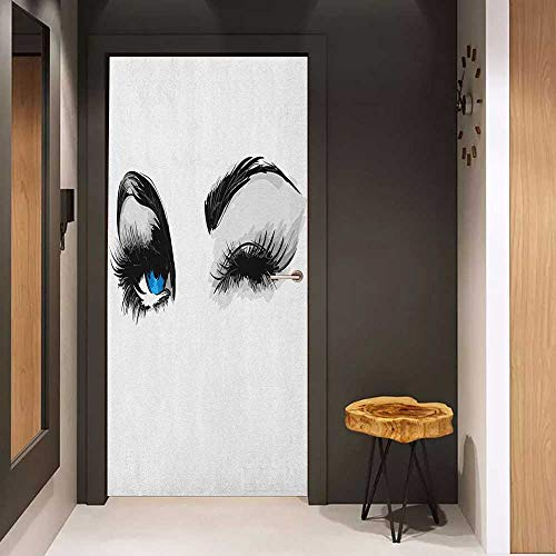 Onefzc Automatic Door Sticker Eye Flirty Attractive Woman with Blue Eyes and Thick Lashes Beauty Glamor Youth Easy-to-Clean, Durable W35.4 x H78.7 Blue Black Pale Grey