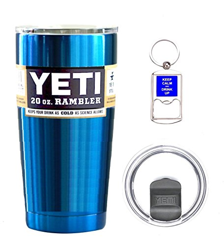YETI Coolers 20 Ounce (20oz) (20 oz) Custom Rambler Tumbler Cup Mug Bundle with New Magslider Spill Proof Lid (Chrome Blue - No Glitter) by Custom YETI