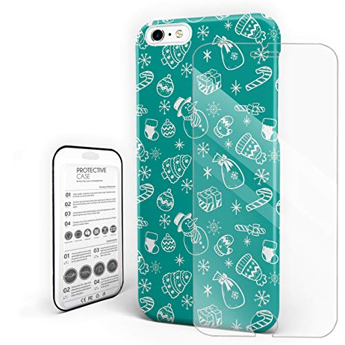 Compatible with iPhone 6, iPhone 6s Case - Hand Drawn Snowman and Gifts Green Slim Fit Hard PC Shell Anti-Scratch Back Phone Cover [with Tempered Glass Screen Protector]