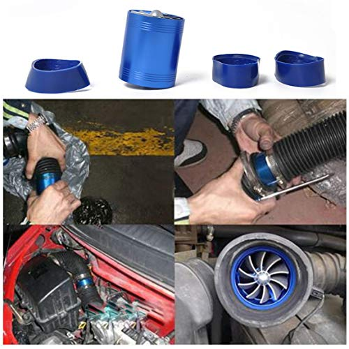 Modified Intake Turbine Car Turbine Double-sided Supercharger F1-Z Power Double-sided Turbine + Hose Clamp 2pcs(Color:Blue):