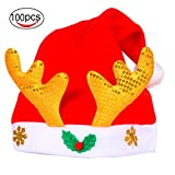 Watache WATACE Christmas Santa Red & White Flannelette Antlers Hat for Holiday Party(100 Pack)