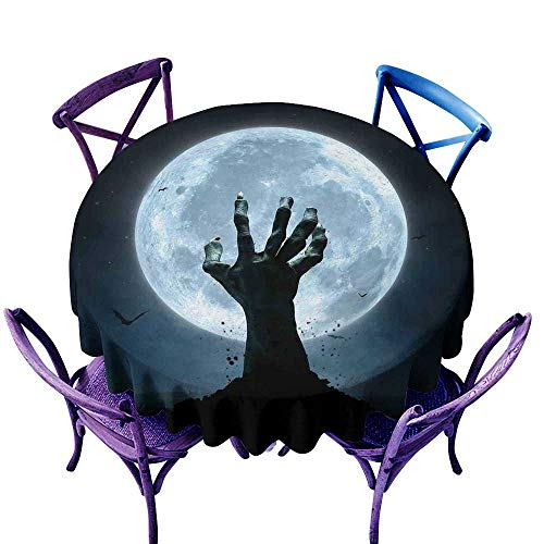 WinfreyDecor Halloween Restaurant Tablecloth Realistic Zombie Earth Soil Full Moon Bat Horror Story October Twilight Themed Indoor Outdoor Camping Picnic D47 Blue -