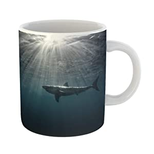Emvency Coffee Tea Mug Gift 11 Ounces Funny Ceramic Great White Shark in Blue Ocean Underwater Photography Predator Hunting Near Gifts For Family Friends Coworkers Boss Mug