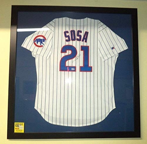 (Sammy Sosa #21 Autographed Signed Chicago Cubs Home Rawlings Jersey Memorabilia PSA/DNA COA)
