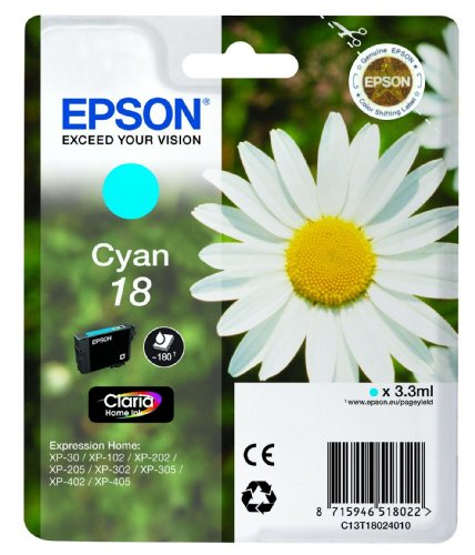 Epson Singlepack Cyan 18 Claria Home Ink 3.3ml Cian 180páginas cartucho de tinta - Cartucho de tinta para impresoras (Cian,...