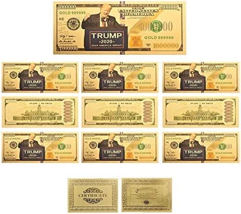 HENGTONGTONGXUN ギフトやコレクションのための卸売米国トランプ2020グッズカラフルゴールド紙幣コピー用紙のお金で証明書カード 使いやすい (色 : 10 pcs)