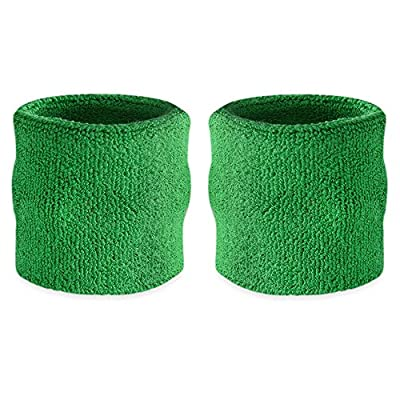 Suddora Wrist Sweatbands Also Available in Neon Colors - Athletic Cotton Terry Cloth Wristbands for Sports (Pair) (Green)