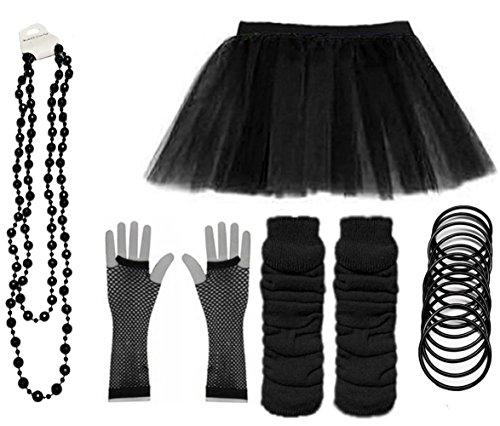 Ladies Neon UV Tutu Set Skirt Gloves Leg Warmers Bracelet Beads 80s Costume Size 6-22 (Black, UK 16-22 (EUR 44-48))