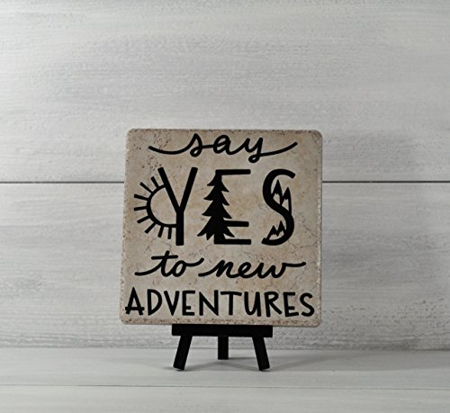 Graduation Gift, Say Yes to New Adventures, Tile Quote, Decorative Tile, Mothers Day Gift, Gifts Under 20, Inspirational Gift, Camping Decor by checkeredflagswag
