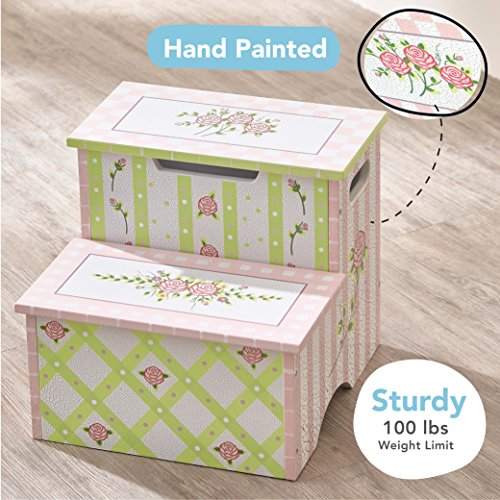 Fantasy Fields - Crackled Rose Thematic Kids Wooden Step Stool with Storage | Imagination Inspiring Hand Crafted & Hand Painted Details   Non-Toxic, Lead Free Water-based Paint