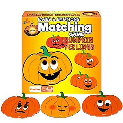 Skoolzy Educational Pumpkin Memory Matching Game Cards 24 Emotional Intelligence Flashcards - Fall Festival, Jack-O-Lantern Halloween, Thanksgiving Games for Kids - Kids Identify Feelings & Emotions: Toys & Games