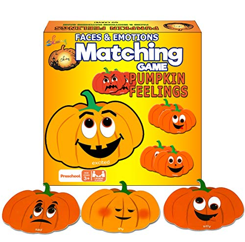 Skoolzy Educational Pumpkin Memory Matching Game Cards 24 Emotional Intelligence Flashcards - Fall Festival, Jack-O-Lantern Halloween, Thanksgiving Games for Kids - Kids Identify Feelings & Emotions