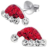 So Chic Jewels - Children's 925 Sterling Silver Christmas Hat Ear Studs with Crystal