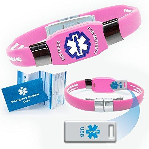 Waterproof ELITE USB pink silicone medical alert ID bracelet with 2 GB USB (Pink) by (Elite 2 Gb Usb)