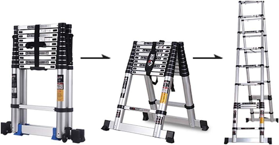 Escaleras plegables aluminio Escalera de extensión Escalera loft telescópica portátil de aluminio con mecanismo de bloqueo accionado por resorte Costillas antideslizantes Capacidad de 330 lb, varios t: Amazon.es: Hogar