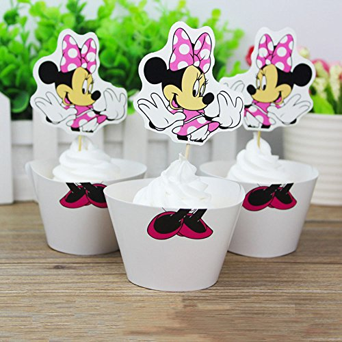 Minnie Mouse Cupcake Toppers + Wrappers Party Pack for 12 Cupcakes