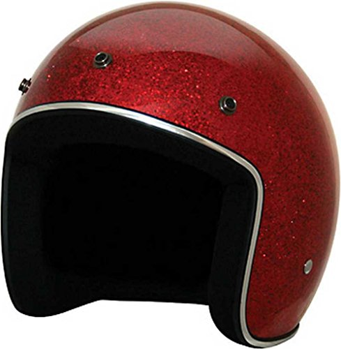 HCI Retro Red Glitter Open Face Helmet w/Visor, ABS painted Shell 10-031 (Md)