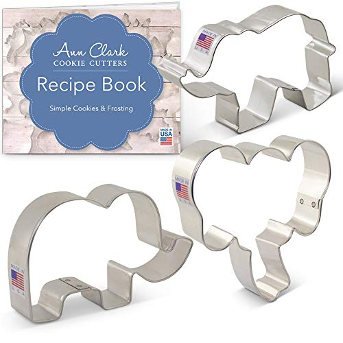 Elephants Cookie Cutter Set with Recipe Booklet - 3 piece - Elephant Face, Cute Elephant and Elephant - Ann Clark - USA Made Steel