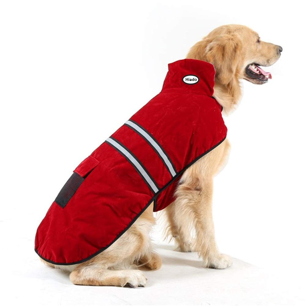 Hiado Dog Coat with Harness Hole and Reflective Strip for Winter Cold Weather Red XL Chest 31-34 Inch