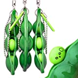 KeNeer Bring Fun for Kids and Adluts with Reduce Anxiety and Stress, Fidget Toys Squeeze-a-Bean Keychain Pendants Cellphone Chain Peas(3- Pack Set)