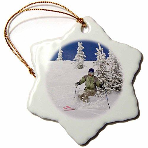 3dRose orn_91717_1 Telemark Skier, Whitefish Mountain Resort, Montana-US27 CHA1219-Chuck Haney-Snowflake Ornament, Porcelain, (The Mountain Telemark Skis)