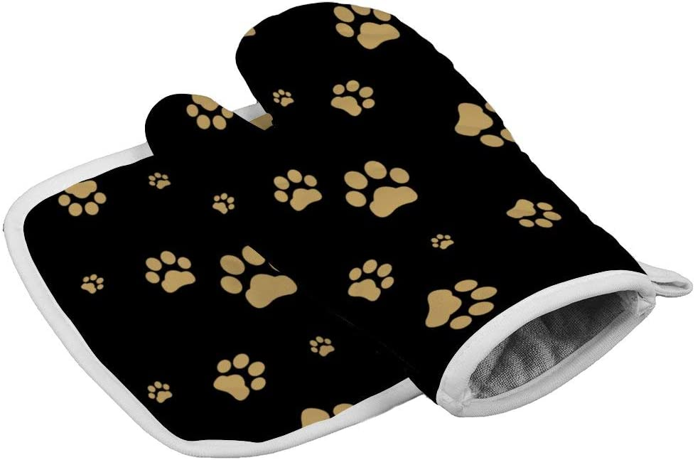 July-Seven Dog Paw Print Oven Mitts,Professional Heat Resistant Microwave BBQ Oven Insulation Thickening Cotton Gloves Baking Pot Mitts with Soft Inner Lining