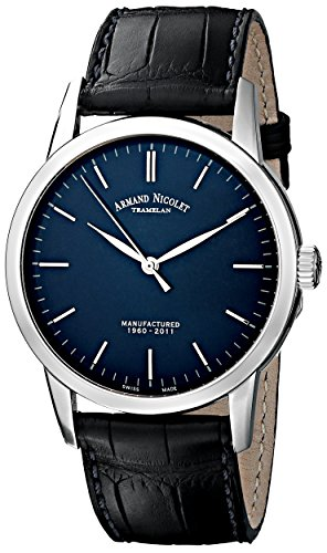 Armand Nicolet Men's 9670A-BU-P670BU1 L10 Limited Edition Stainless Steel Watch With Black Alligator-Leather Strap