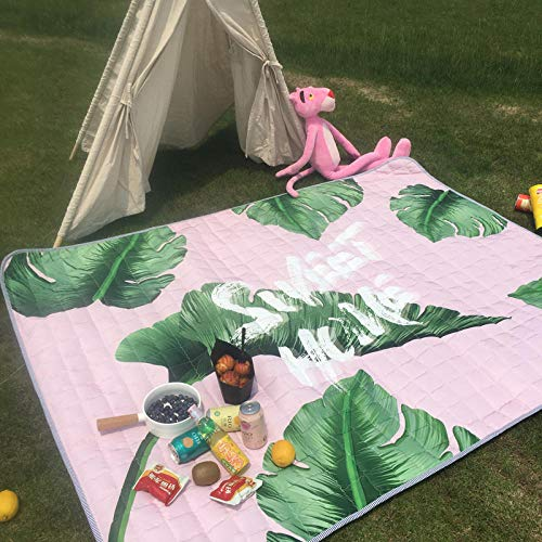 Thicken mats Spring Travel mats Wild Outdoor mats Lawn Camping Picnic Beach Cloth Folding Portable CarpetFoundation Green Leaves170x200cm or so