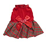 Tangpan Bow-knot Christmas Pet Costume Plaid Skirt Dog Clothes Santa Dress Size M