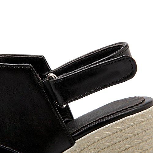 Femmes Confortables Boucle Compensees Noir de Bout UH Simple à Slingback Sandales Talons Ouvert HCRxqqwdB