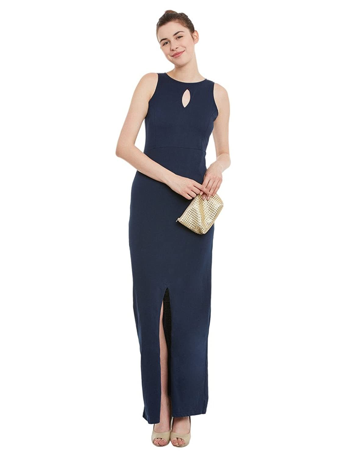 Womens Navy Blue Bodycon Maxi Dress