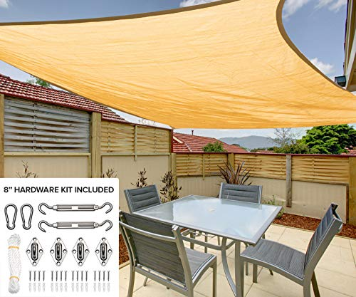 Horse Shade - 10'x13' Rectangle Sun Shade Sail Canopy in Sunburst - Durable Outdoor Patio Cover Pergola Awning - Heavy Duty 8 inch Stainless Steel Hardware Kit (10'x13' Rectangle, Sunburst)