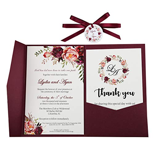 Doris Home Tri-fold wedding invitations for Bridal Shower, Dinner, Beach theme, Party with Ribbon and Tags, DH0001 (Burgundy, 25pcs Blank)