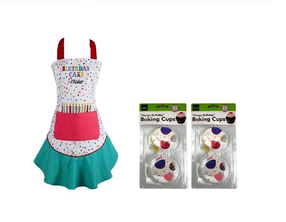 Ayuni Gifts of the World 'Birthday Cake Maker' コットンフリルエプロン 60個のカラフルなハッピーバースデーベーキングカップ付き   B07Q7N1GRS