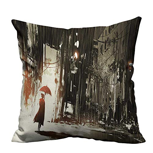 - YouXianHome Decorative Couch Pillow Cases Lonely wo Umbrella in ab Done City Digital Paint Easy to Wash(Double-Sided Printing) 17.5x17.5 inch