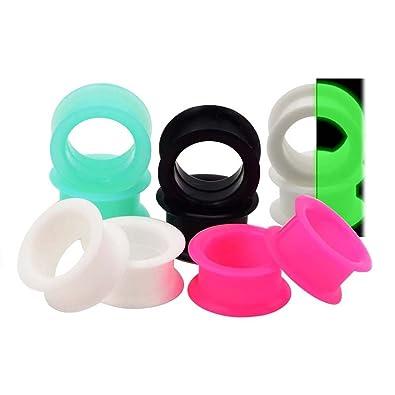 D&M Jewelry 10 Piezas de Silicona Espesa Flexible Expansor de Tunel de 5 Colores 8g-