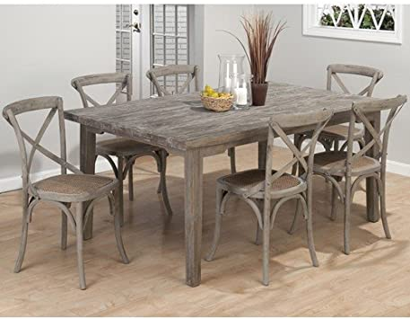 Amazon Com Jofran Burnt Grey Coastal 7 Piece Dining Set With X Backed Chairs Table Chair Sets