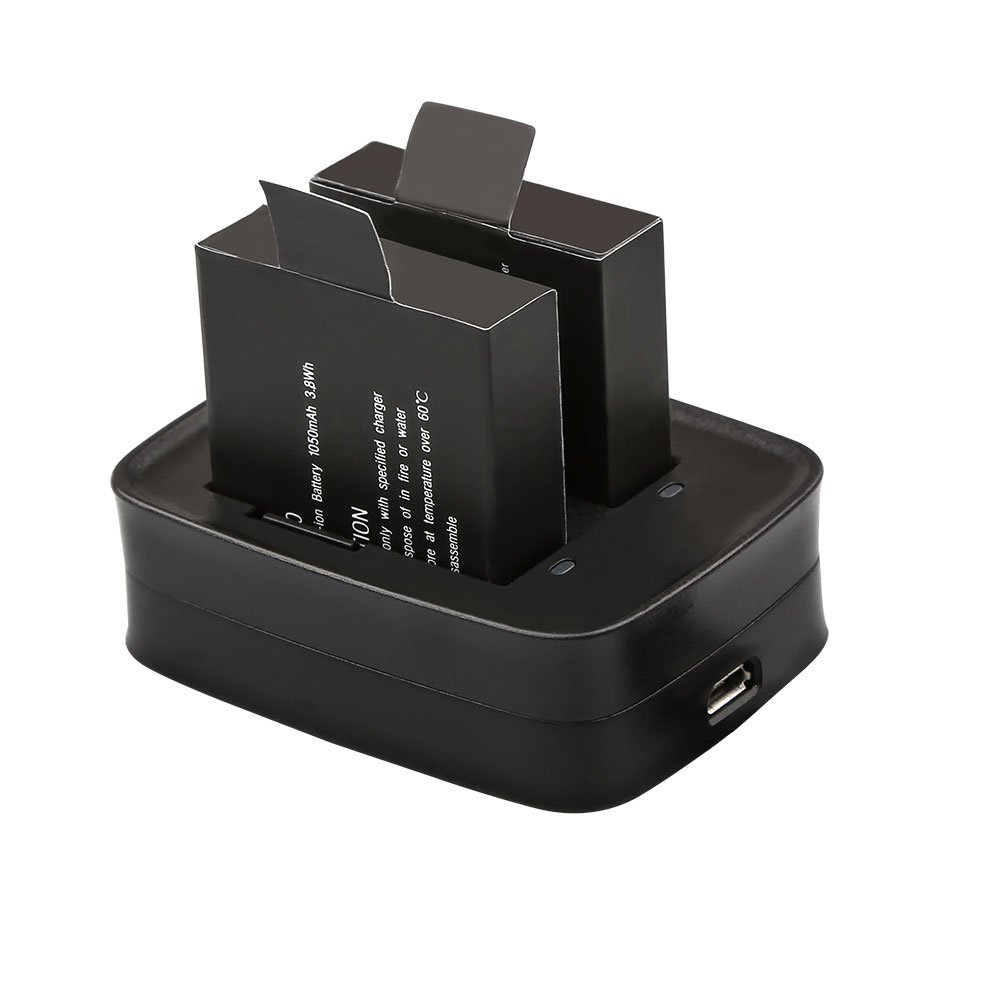 AKASO V50// V50 Elite 2 x 1050mAh Rechargeable Action Camera Battery with USB Dual Charger