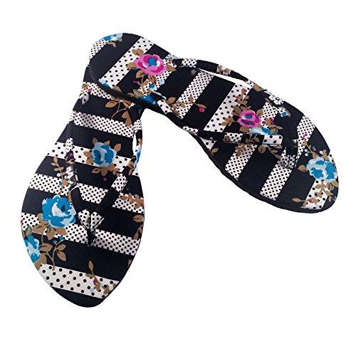 Chose Chic Kawaii Polka Dots / Floral Flip Flops (L / 9-10 US, Black / White / (Floral Flip Flop)