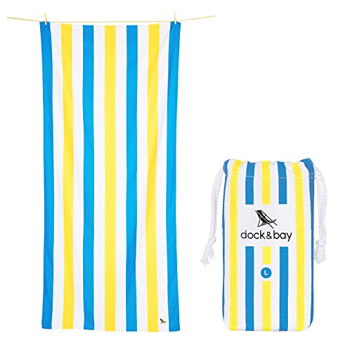 Dock & Bay Compact Towel for Beach Tote - Blue & Yellow, Lar