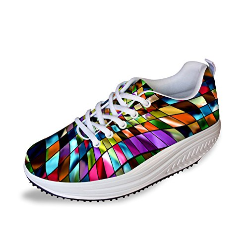 FOR U DESIGNS Fashion Plaid Pattern Wedge Platform Sneakers Shoes for Women US ()