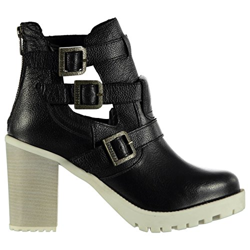 Firetrap Womens Boots Shoes Block Heel Summer Casual Ankle Height Triple Buckle Black/White