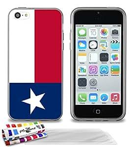 """Carcasa Flexible Ultra-Slim APPLE IPHONE 5C de exclusivo motivo [Bandera Texas] [Gris] de MUZZANO  + 3 Pelliculas de Pantalla """"UltraClear"""" + ESTILETE y PAÑO MUZZANO REGALADOS - La Protección Antigolpes ULTIMA, ELEGANTE Y DURADERA para su APPLE IPHONE 5C"""