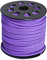 Wobe 100 Yards Suede Cord, Leather Cord 2.6mm x 1.5mm Suede Lace Faux Leather Cord with Roll Spool for Bracelet Necklace Beading DIY Handmade Crafts Thread