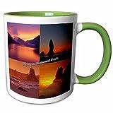 3dRose Sandy Mertens Washington State - Sunset on the Water Montage - Olympic National Park - 11oz Two-Tone Green Mug (mug_156444_7)