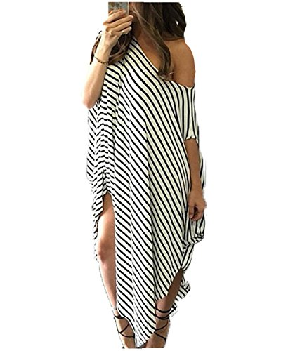 Kidsform Women Maxi Dress Striped Irregular Long Dresses Casual Loose Kaftan Round Neck Sundress