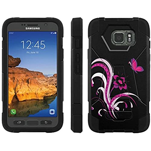 AT&T [Galaxy S7 Active] ShockProof Case [ArmorXtreme] [Black/Black] Hybrid Defender [Kickstand] - [Flower Butterfly Black] for Samsung Galaxy [S7 Active] Sales