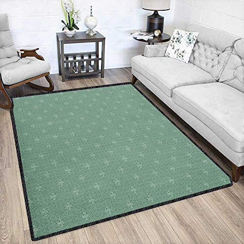 Fleur De Lis Contemporary Indoor Area Rugs,Classical Abstract Royal Floral Arrangement Ancient Lily Design Medieval Art for Children Play Dormitory Reseda Green 79